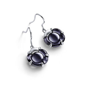 B FLOWER EARRINGS, Black mordore