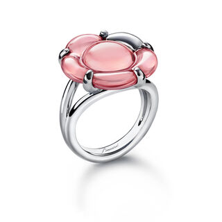 B FLOWER RING, Light pink mirror