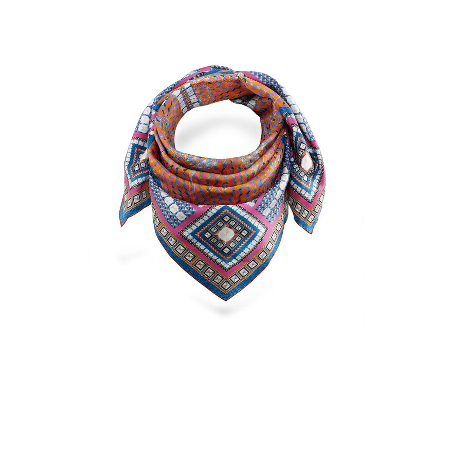 LOUXOR SILK TWILL SCARF, Red - 2