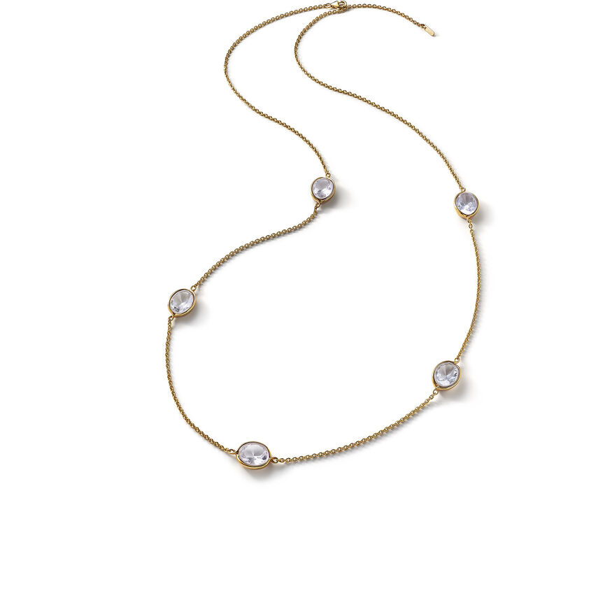 Croisé Long necklace clear vermeil, Clear
