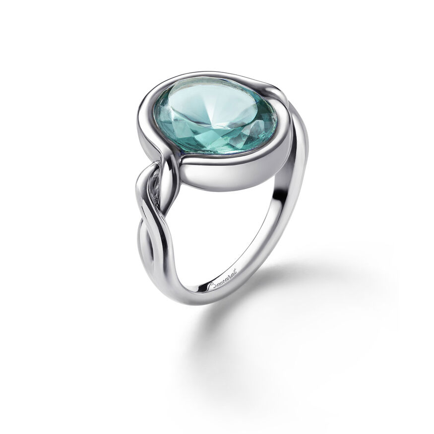 Croisé Ring turquoise silver, TURQUOISE
