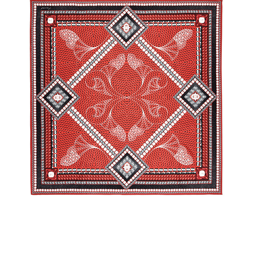 LOUXOR SILK TWILL SCARF, Red - 1