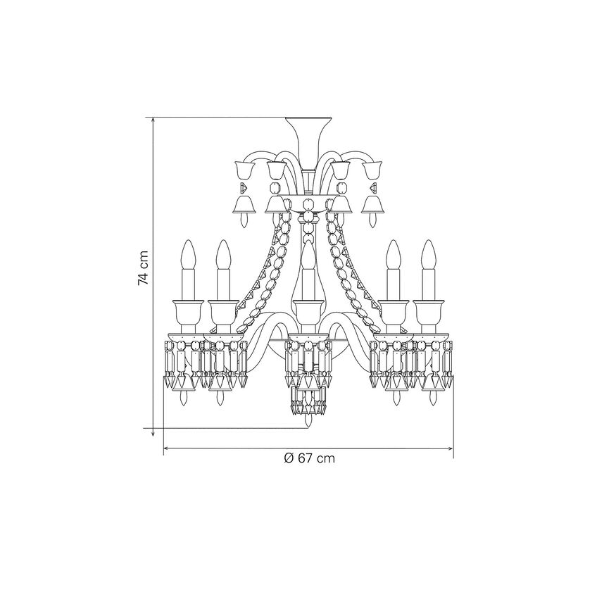ZÉNITH CHANDELIER 8 TO 24 LIGHTS  Black