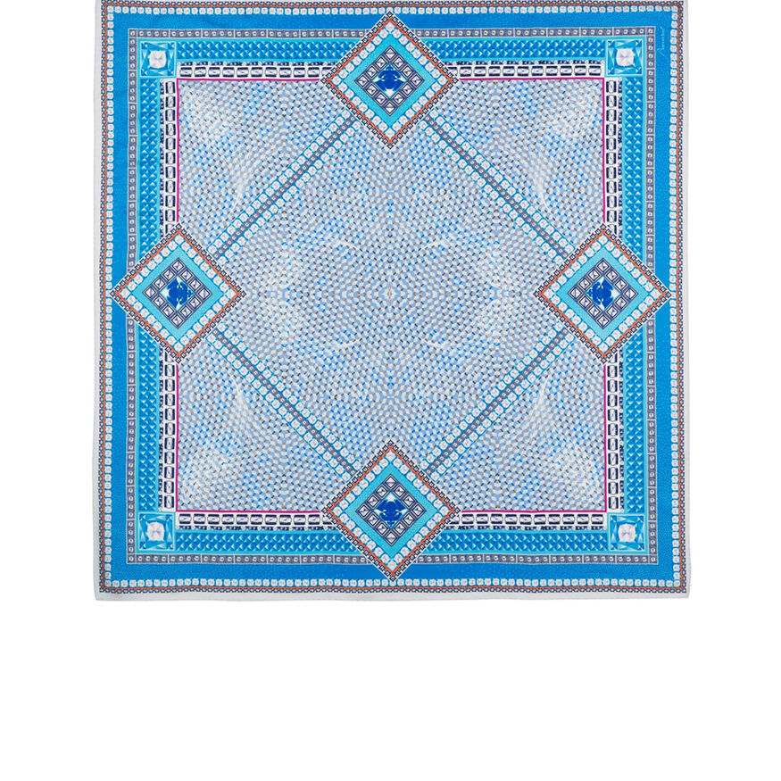 LOUXOR SILK TWILL SCARF, Light blue - 1