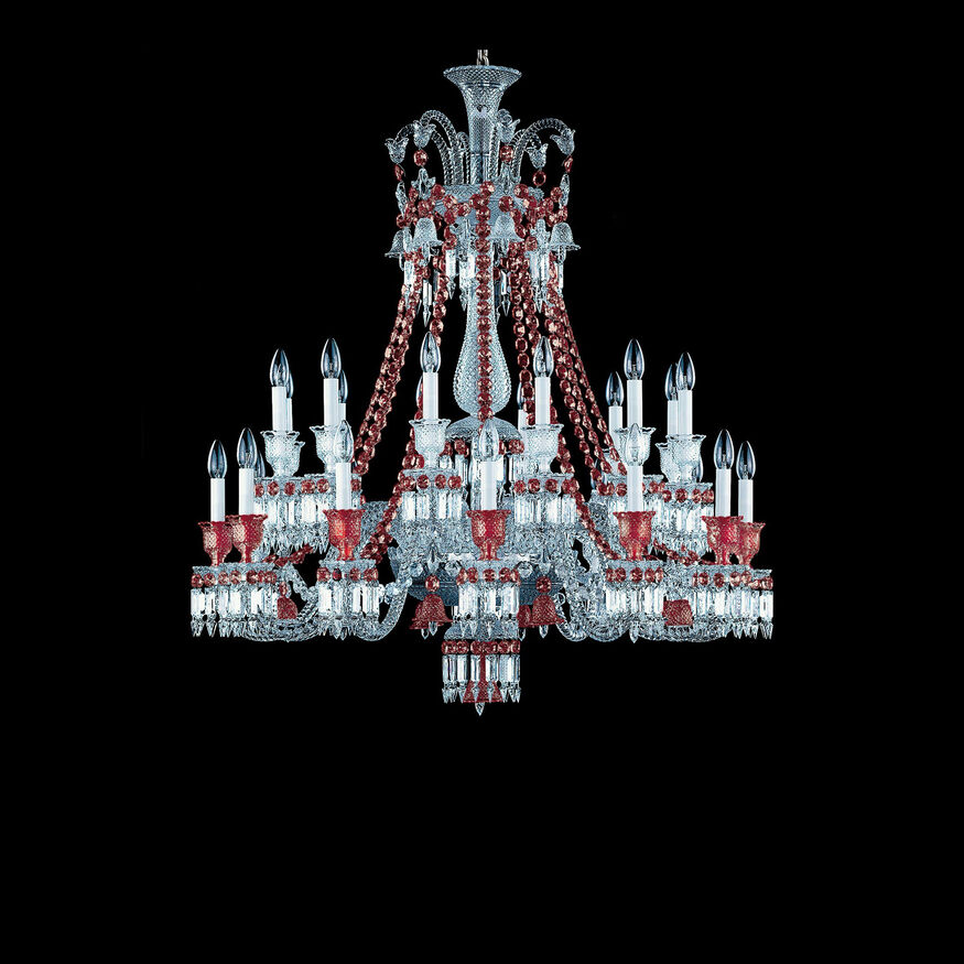 ZÉNITH CHANDELIER 8 TO 24 LIGHTS  Clear & red Image